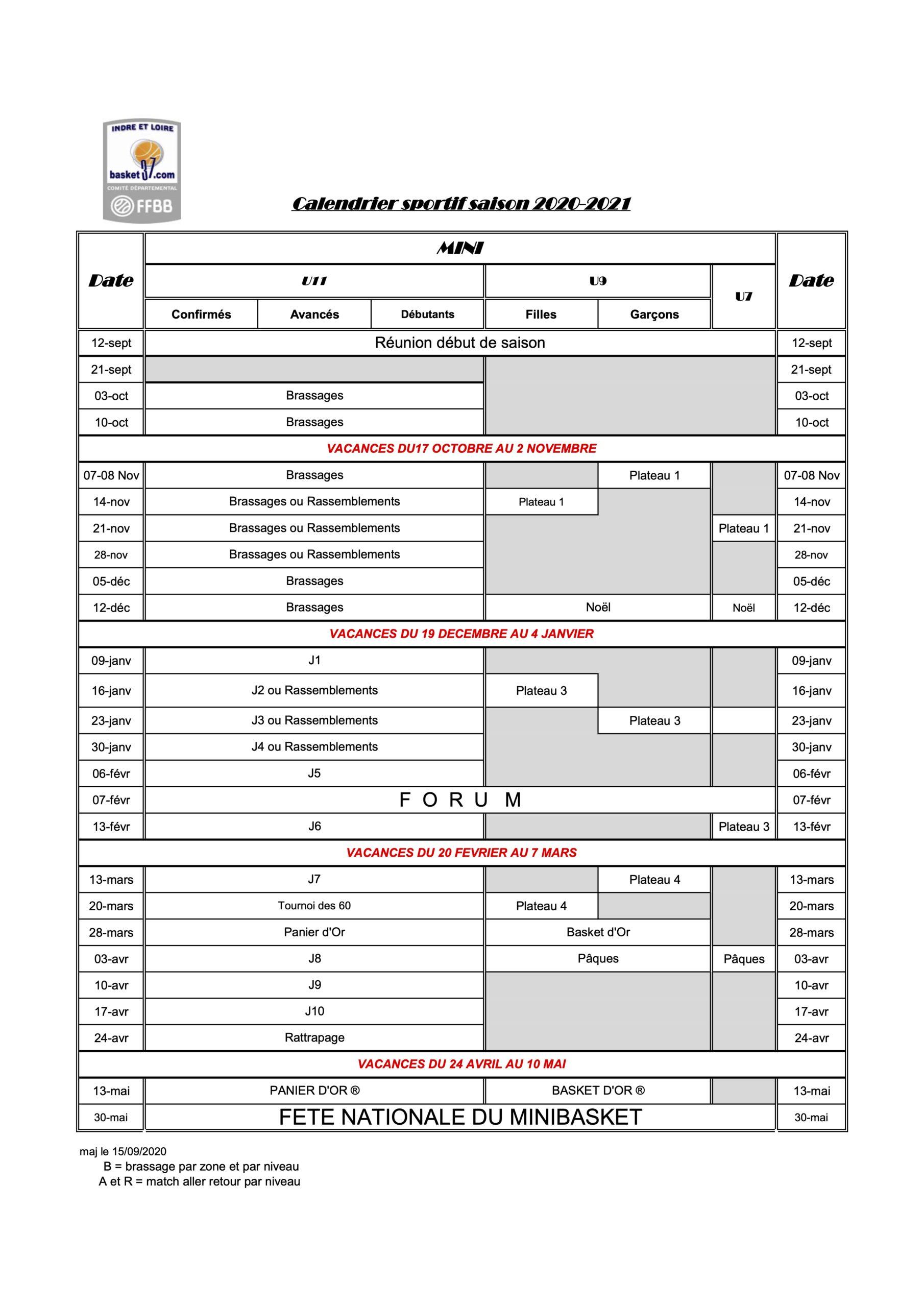 Calendrier 2021 Sportif CALENDRIER SPORTIF SAISON 2020 2021 U7 U9 U11   Celtic La Riche